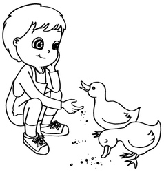 Coloring book child feeding ducks vector image