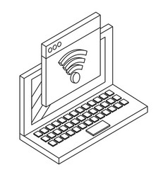 computer and wifi in black and white vector image