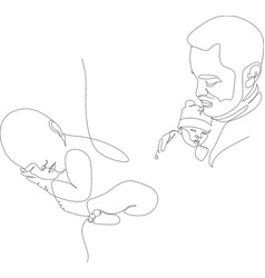 Continuous line drawing young father feeding baby vector