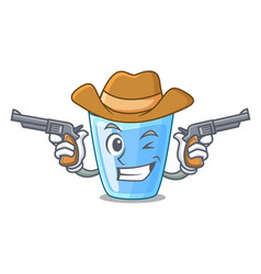 Cowboy character glass of water for drink vector