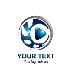 creative abstract 3d media play button logo vector image