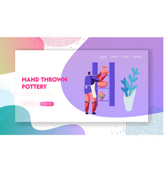 Creative pottery hobby leisure website landing vector