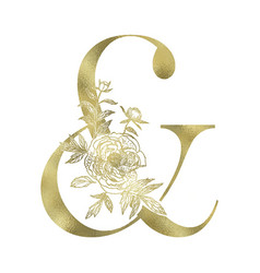 Decorative floral gold ampersand sign vector