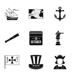 Discovery america icons set simple style vector