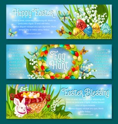 easter egg hunt celebration banner template set vector image