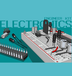 Electronics components kit for electronics vector