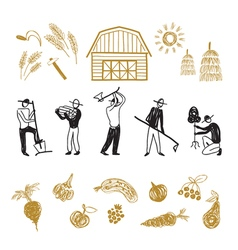 Farming workers men working on farm vector image