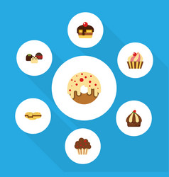 Flat cake set of cupcake cake doughnut and other vector
