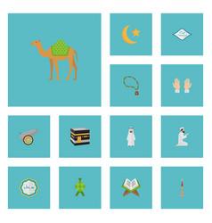 Flat icons new lunar arabian arabic calligraphy vector