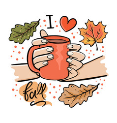 Girl holding mug hot chocolate vector