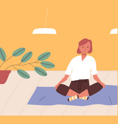 girl sitting cross-legged on floor and meditating vector image