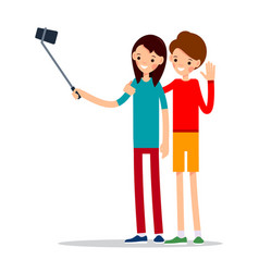 girl with mobile phone woman do selfie vector image
