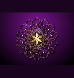 Gold seed life symbol sacred geometry logo icon vector
