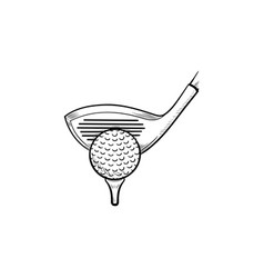golf club and ball on tee hand drawn outline vector image