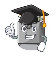Graduation character deep fryer on restaurant vector