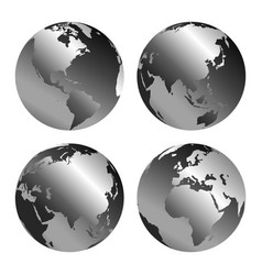 gray globe icons with different continents vector image