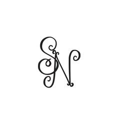 Handwritten monogram sn icon vector