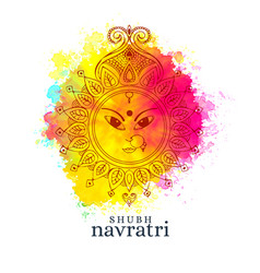 happy navratri with maa durga face on watercolor vector image