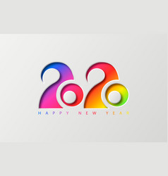 happy new year 2020 banner with cut colored digits vector image
