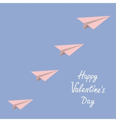 Happy Valentines Day Love card Origami paper plane vector