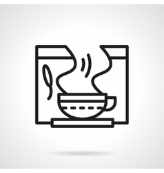 Healing herbal tea black line icon vector