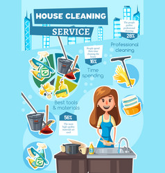 House cleaning service infographic charts vector