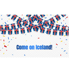 iceland garland flag with confetti on transparent vector image