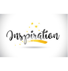 Inspiration word text with golden stars trail and vector