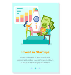 Investing in startups landing page template vector