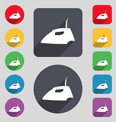 Iron icon sign A set of 12 colored buttons and a vector