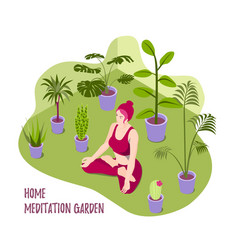 isometric a yoga girl vector image