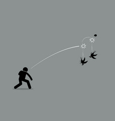Killing two birds with one stone artwork depicts vector