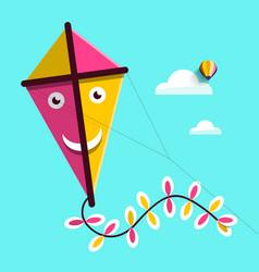 Kite up sky vector