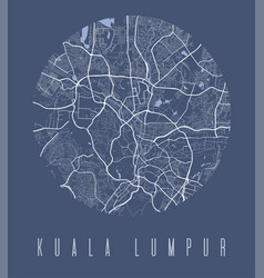 Kuala lumpur map poster decorative design street vector