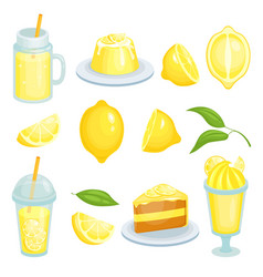 Lemon food cakes lemonade and others yellow vector