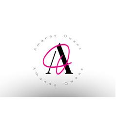 Letter ao signature minimalistic monogram logo vector