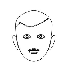 Little boy face black color path icon vector