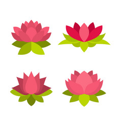 lotus icon set flat style vector image
