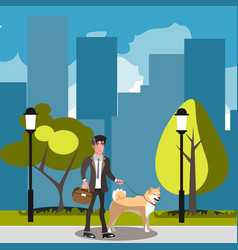man walking with his dog vector image