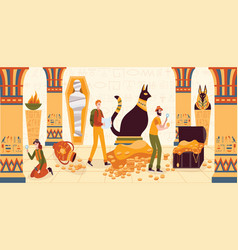 Men and women explore egyptian pyramid from vector