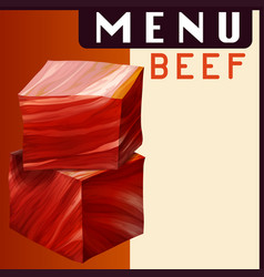 Menu poster with beef in dices vector