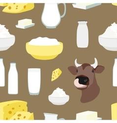 Milk set pattern vector image