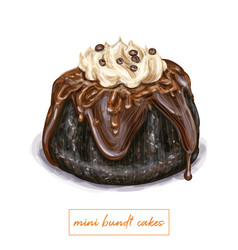 Mini bundt cake vector