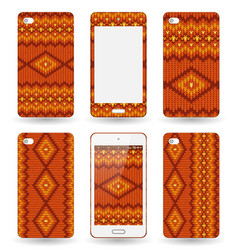 mobile phone cover with knitted texture vector image