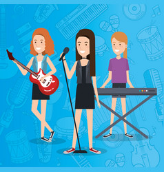 music festival live with women playing instruments vector image vector image