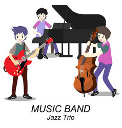musicians jazz trio play guitar bassist piano vector image