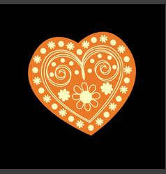 patterned yellow heart on a black background vector image