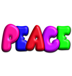 Peace in colorful 3d bubble letters vector