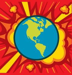 planet earth explode - world globe catastrophe vector image