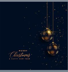 premium golden chrstimas balls on dark background vector image